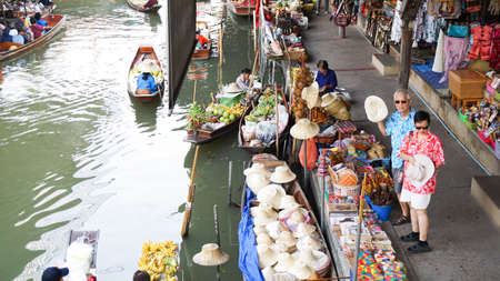 Bangkok, Thailand - 17 Mar 2016 : Floating market with local and tourist blend lifestyle
