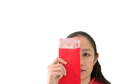 Unhappy Chiense woman and red envelop with money New Year