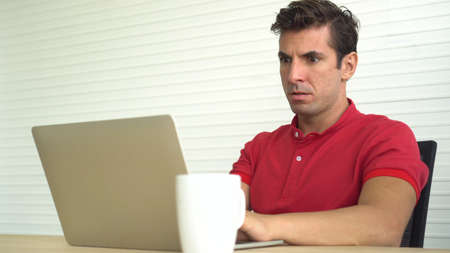 Latin man shock with wrong decision investment result stress out