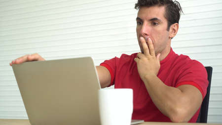 Hispanic man sad worry wrong decision investment result stress out