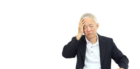 Asian senior businessman in suit stress about problem and financial expression Stock Photo