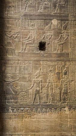 Beautfil Philae temple Aswan Egypt architecture hieroglyphic and column in sunny blue sky 版權商用圖片