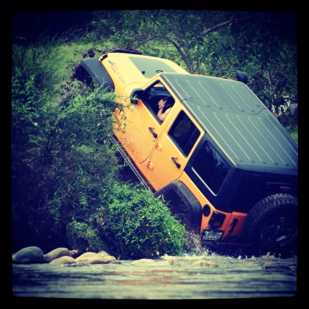 jeep: Jeep crawling after crossing a river
