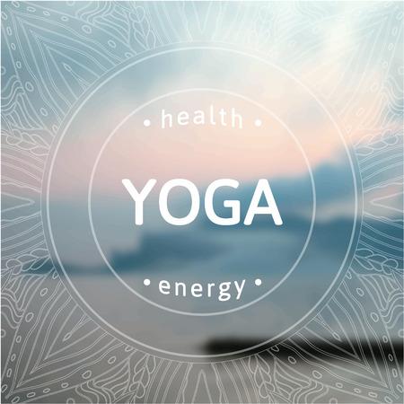 Yoga illustratie. Naam van yoga studio op een zonsondergang op de achtergrond. Yogales motto. Yoga sticker. Vector yoga. Yoga oefeningen, recreatie, gezonde levensstijl. Affiche voor yogales met uitzicht op zee. Stockfoto - 37153038