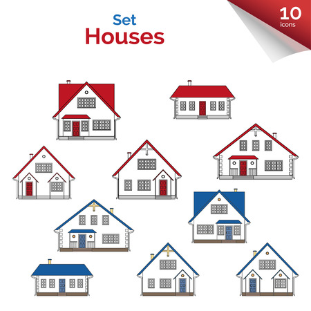 two storey: Illustration. House projects in white, red, grey and blue colors. Houses: cottage and two-storey houses. Real estate. Residential property. Set of flat icons of houses.