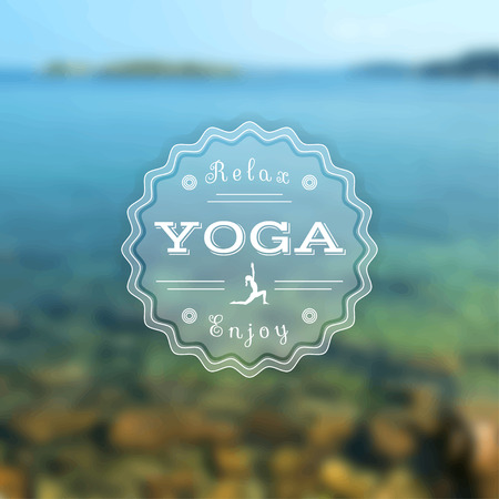 meditation stones: Yoga illustration. Name of yoga studio on a sunset background. Yoga class motto. Yoga sticker. Vector yoga. Yoga exercises, recreation, healthy lifestyle. Poster for yoga class with a sea view.