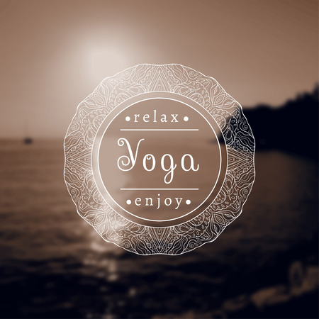 yoga sunset: Yoga illustration. Name of yoga studio on a black and white background. Yoga class motto. Yoga sticker. Yoga exercises, recreation, healthy lifestyle. Poster for yoga class with a sea view. Stock Photo