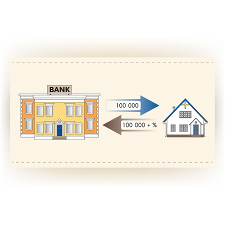 flujo de dinero: Ilustraci�n: Pr�stamo hipotecario para comprar una casa. Devuelve pr�stamo hipotecario con inter�s. Infograf�a: Pr�stamo Hipotecario como el flujo de caja. La compra de las propiedades inmobiliarias en blanco, amarillo, azul, colores marrones.