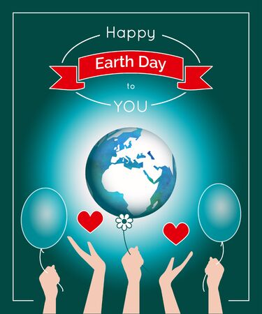 mother earth: Vector poster for 22 April, Earth Day. International Mother Earth Day. The planet in blue and white colors. Globe and red ribbon as a concept for Earth Day. Poster with the globe and people hands.