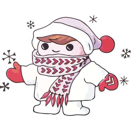 A little boy in a winter coat Illustration
