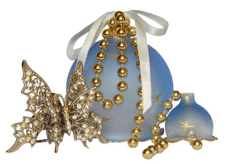 Shiny butterfly toy ball  in front of new-year blue decorations on white background Stock Photo - 1355504