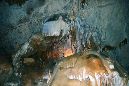 stalagmites: An old beatiful cave full of stalagmites and stalactites Stock Photo