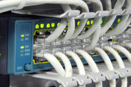 Datacenter gigabit cable hightech high availability and performance switch Stock Photo - 2213773