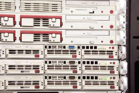 fileserver: Mainframe servers mounted at the datacenter communication room Stock Photo