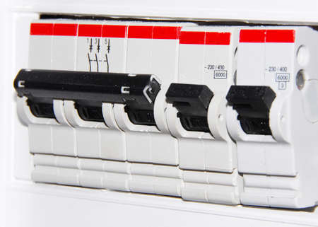 fusebox: Datacenter electrical power line switches close up