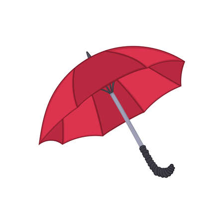 red umbrella isolated illustration on white background in cartoon style