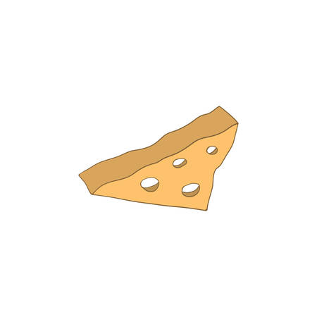 piece of cheese with holes isolated illustration on a white background in cartoon style. Element for design