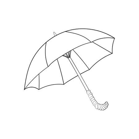umbrella isolated illustration on white background in cartoon style. Coloring book