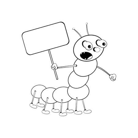 Funny cartoon caterpillar holds a rectangular tablet in his hand and shouts loudly. Black and white coloring.