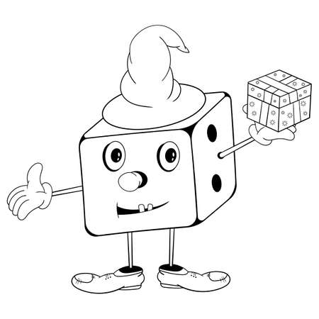 Funny cartoon dice in wizard hat with eyes, hands and feet holding a gift box in his hand and smiling. Black and white coloring. Ilustracja