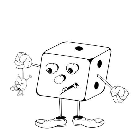 Funny cartoon dice game with eyes, arms and legs holding a little mouse in his hand. Black and white coloring.