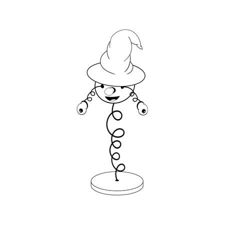 funny cartoon spring in a wizard s hat - with head, eyes and mouth, stands on a stand and two eyes fall off. Black and white coloring. Ilustracja
