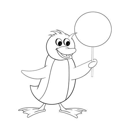 Penguin holds a round sign in his hand. Funny coloring in the style of comics 向量圖像