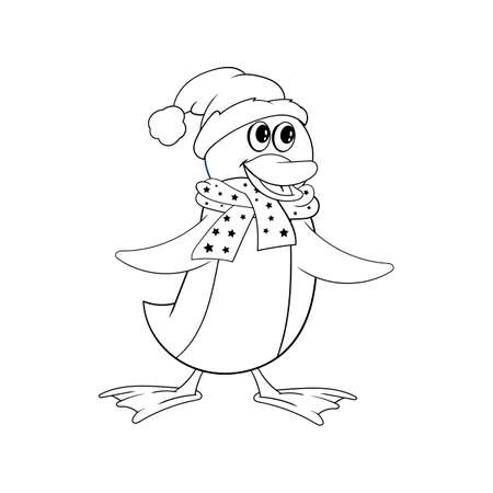 Penguin in a scarf and a Christmas hat. Funny coloring in the style of comics