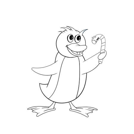 Penguin is holding a Christmas candy in his hand. Funny coloring in the style of comics