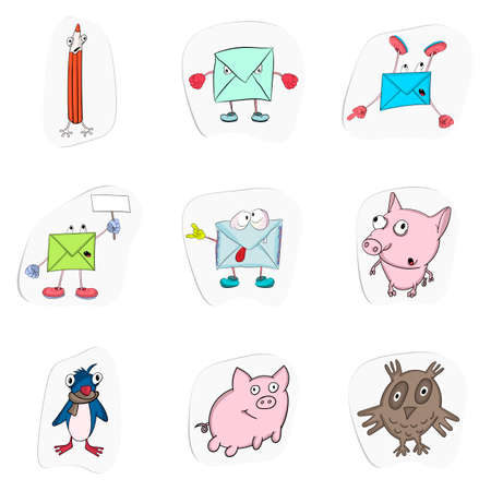 Set of stickers. Vector collection of funny cartoon envelopes and animals