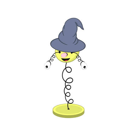 funny cartoon spring in a wizard s hat - with head, eyes and mouth, stands on a stand and two eyes fall off. Ilustração