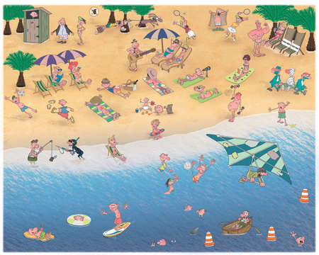 Vacationing people on a sunny beach..
