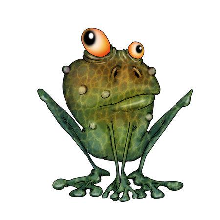 Alert goggle-eyed toad. Illustration on white background. Reklamní fotografie