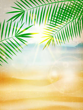Abstract summer poster with beach background.  Vector
