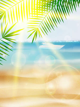 Beautiful Seaside View Poster. EPS10 Ilustração