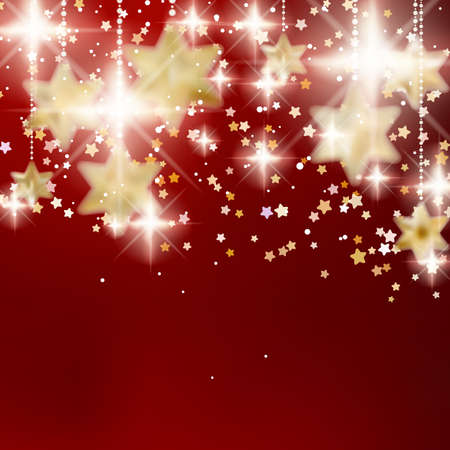 Festive red Christmas background with golden stars. EPS10 Vector