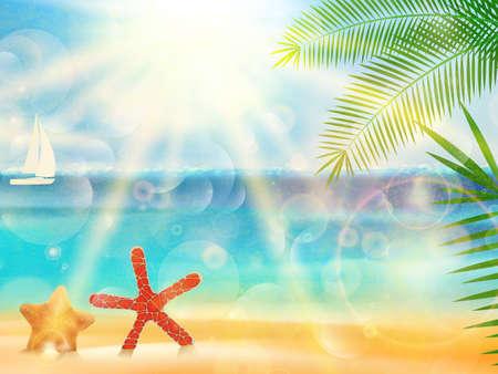 Vintage seaside view poster. EPS10 Ilustração