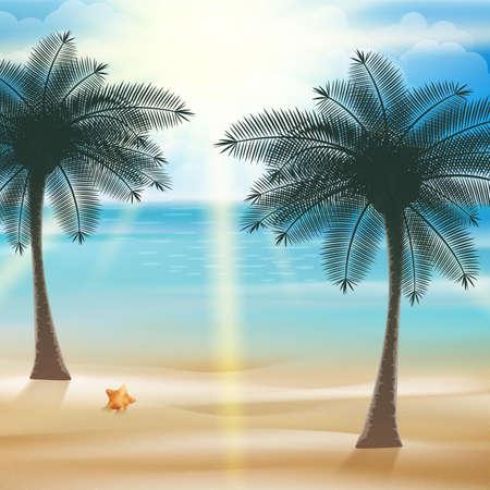 sand asia: Tropical beach design template.  Illustration
