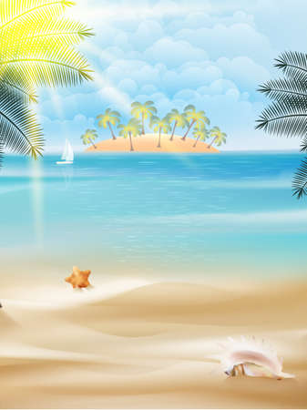 Beautiful seaside view on sunny day with sand.