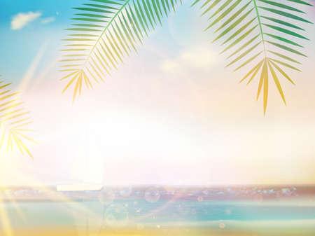 sand beach: Palms on empty idyllic tropical sand beach design template. EPS10 Illustration
