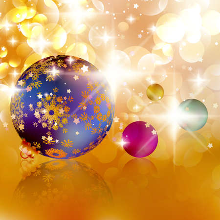 lights background: Christmas balls on abstract golden lights background.  Illustration