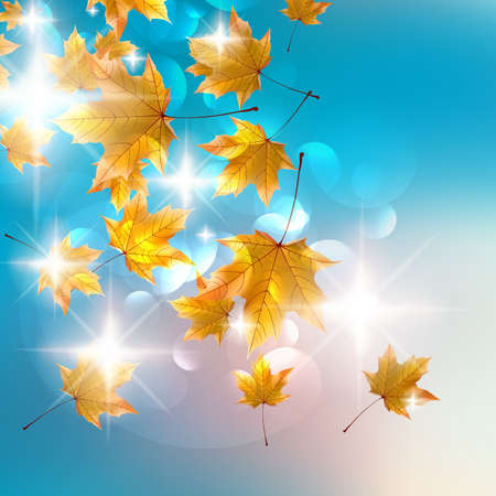 Autumn design background with colorful red and yellow leaves falling from the tree.