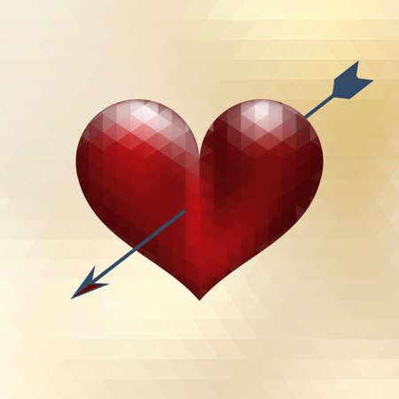 Origami heart design with arrow.  Vector