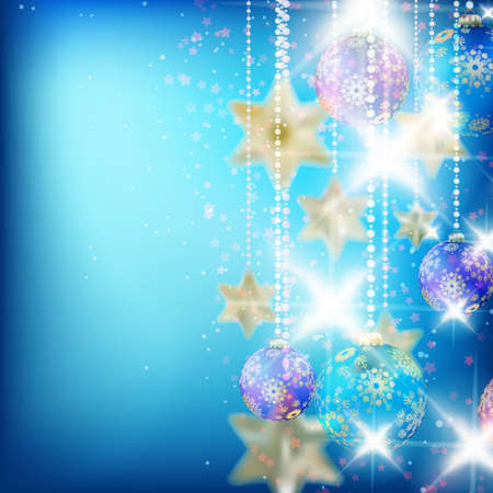 Beautiful blue christmas background with place for text.  Vector