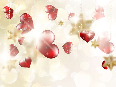 Shiny hearts bokeh light Valentines day. EPS 10 vector file included Vector