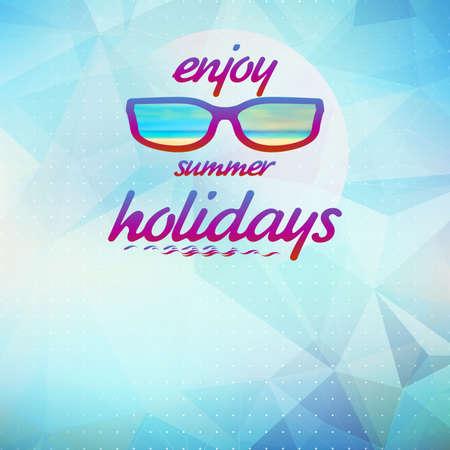 summer sky: Summer sky with sun wearing sunglasses Illustration