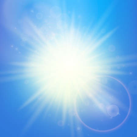 Sun with lens flare template   Illustration
