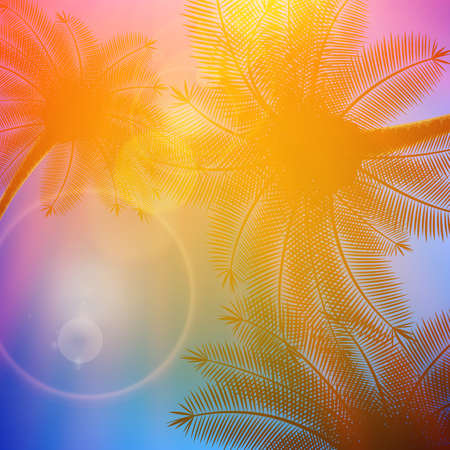 crepuscular: Palm trees with beautiful sunset  EPS10