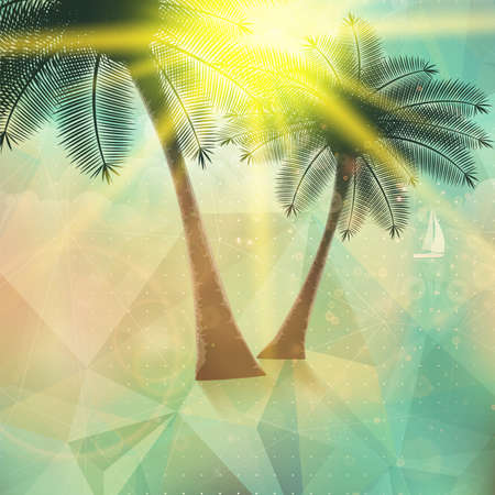 Seaside view poster  Geometric abstract  EPS10 Vector