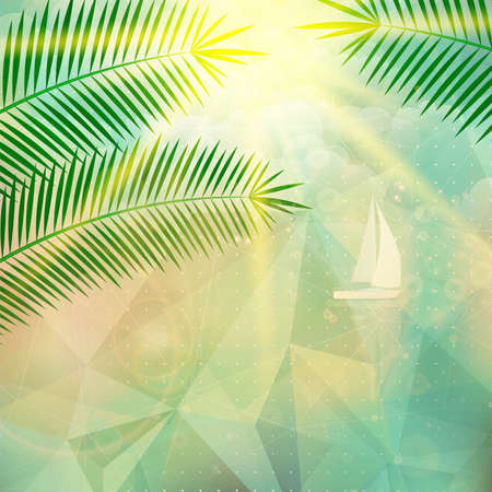 tropical background: Seaside view poster  Geometric abstract  Illustration